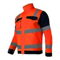 Jacheta reflectorizanta premium, 7 buzunare, talie ajustabila, cusaturi duble, marime XL, Portocaliu