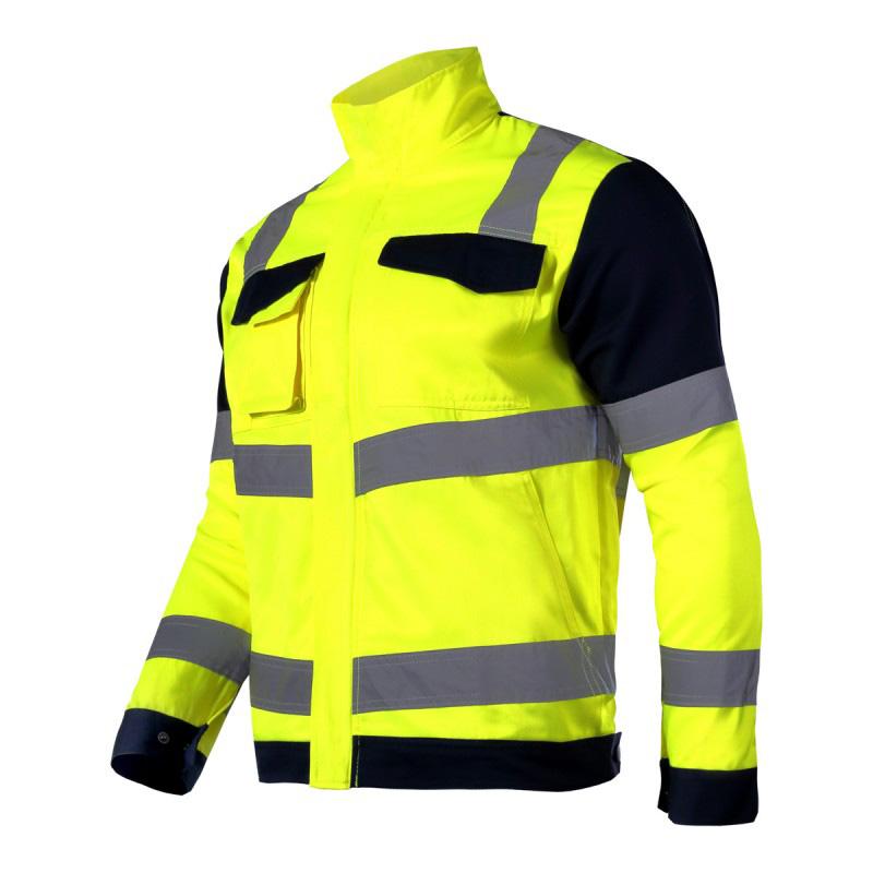 Jacheta reflectorizanta premium, 7 buzunare, talie ajustabila, cusaturi duble, marime M, Galben
