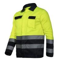 Jacheta reflectorizanta, 5 buzunare, cusaturi duble, marime XL, Galben