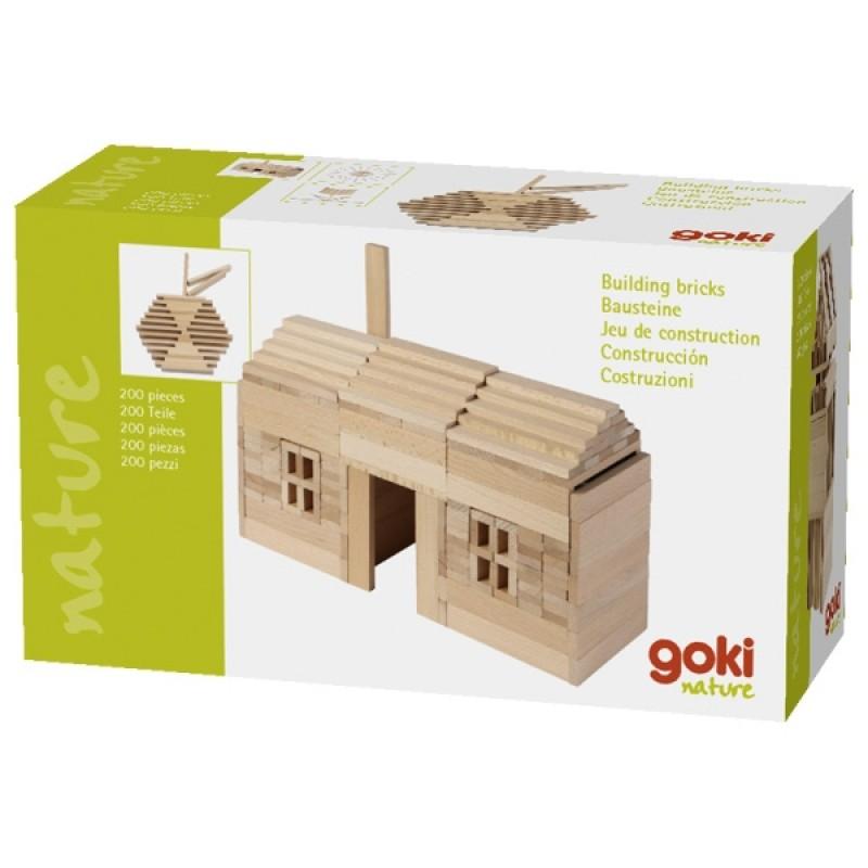 Joc de constructie Nature Goki, 10.5 x 2.1 x 0.7 cm, 200 piese, lemn, 3 ani+ 2021 shopu.ro