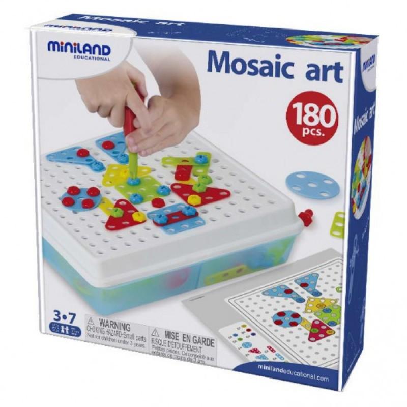 Joc constructii Mosaic Art Miniland, 180 piese, 12 carduri activitate