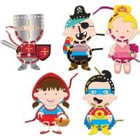Joc creativ de cusut Personaje Fiesta Crafts, 30 de piese cu personaje, 5 sireturi colorate, 3 ani+