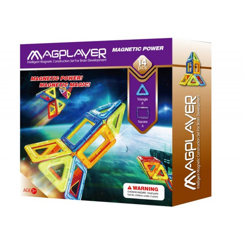 Joc de constructie magnetic Magplayer, 14 piese, 21 х 5 х 22 cm, 3 - 10 ani 2021 shopu.ro