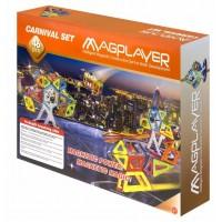 Joc de constructie magnetic Magplayer, 46 piese, 8 x suport de carnaval