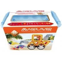 Joc de constructie magnetic Magplayer, 64 piese, dezvolta abilitatile cognitive