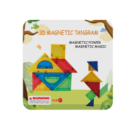 Joc de constructie magnetic Tangram Magplayer, 9 piese, 12 x 12 x 3.8 cm, 3 ani+