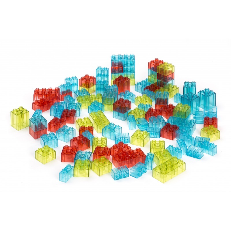 Joc de constructii Miniland, 100 piese translucide, 3-6 ani+