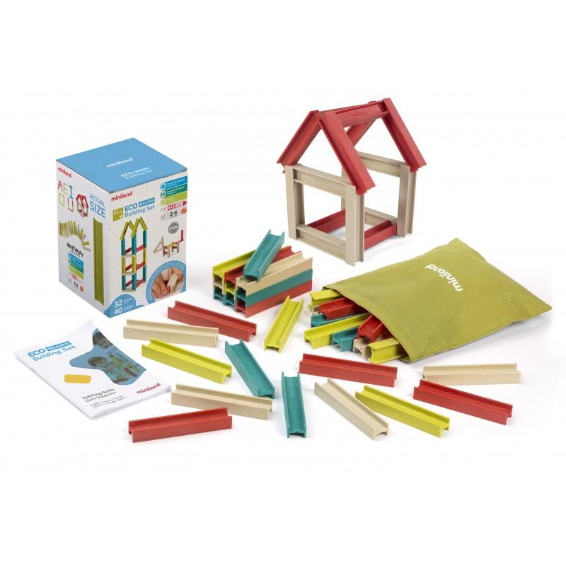 Joc construit cu sine Miniland, 32 grinzi, material ecologic, 2-6 ani 2021 shopu.ro