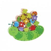 Joc de echilibru Omida vesela Jumini, 19 x 2.5 x 18 cm, lemn, 20 piese, 3 ani+, Multicolor