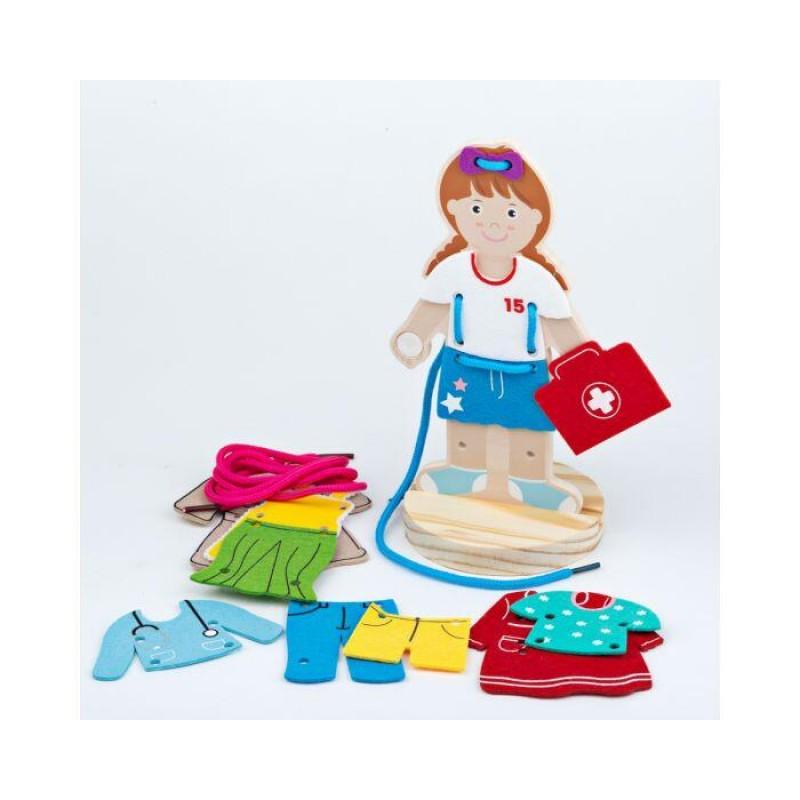 Joc de indemanare Imbraca fetita BigJigs, 3-6 ani, sir inclus, Multicolor