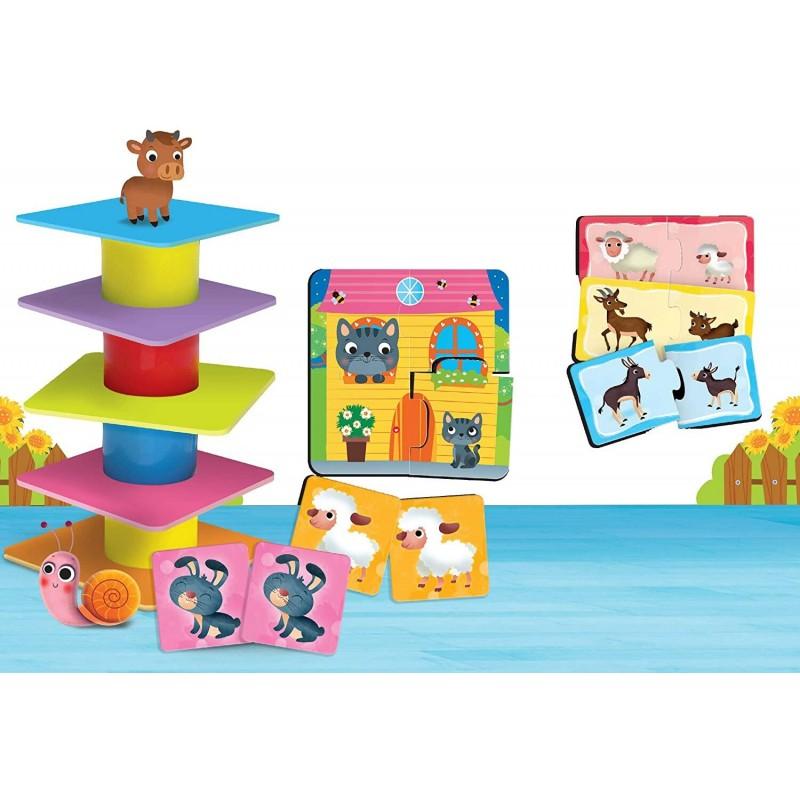 Joc de logica 4 in 1 Animalute jucause Lisciani, 16 piese, 1-4 ani, Multicolor 2021 shopu.ro