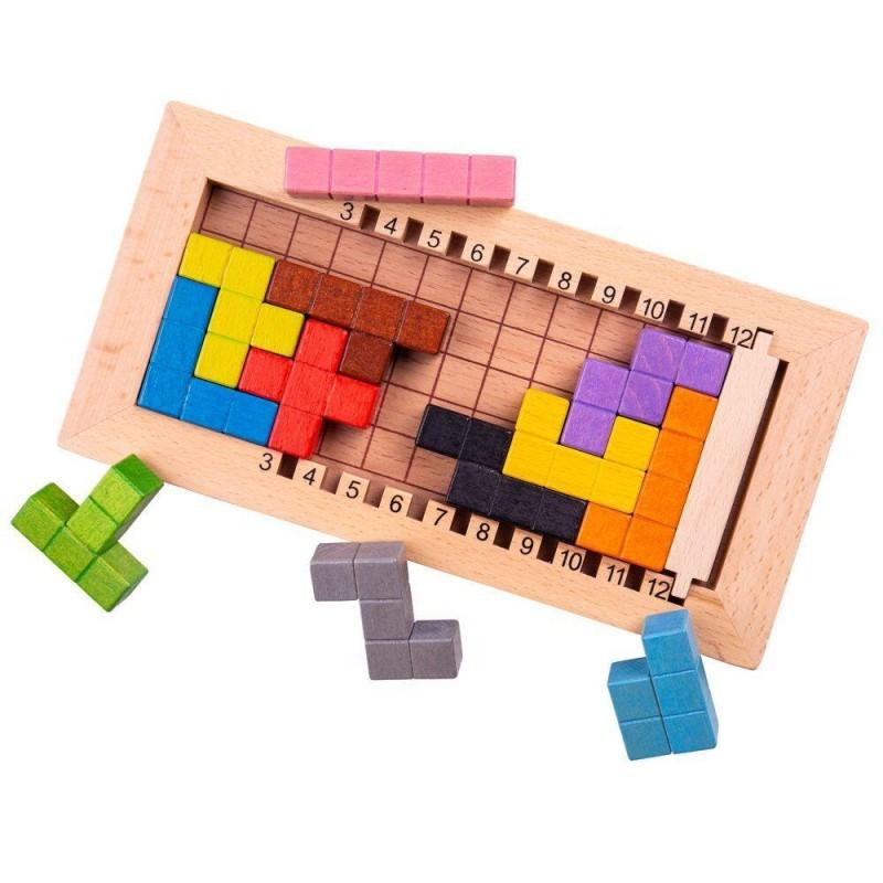 Joc de logica Tetris BigJigs, 12 piese, 2 - 4 jucatori, 3 ani+ 2021 shopu.ro