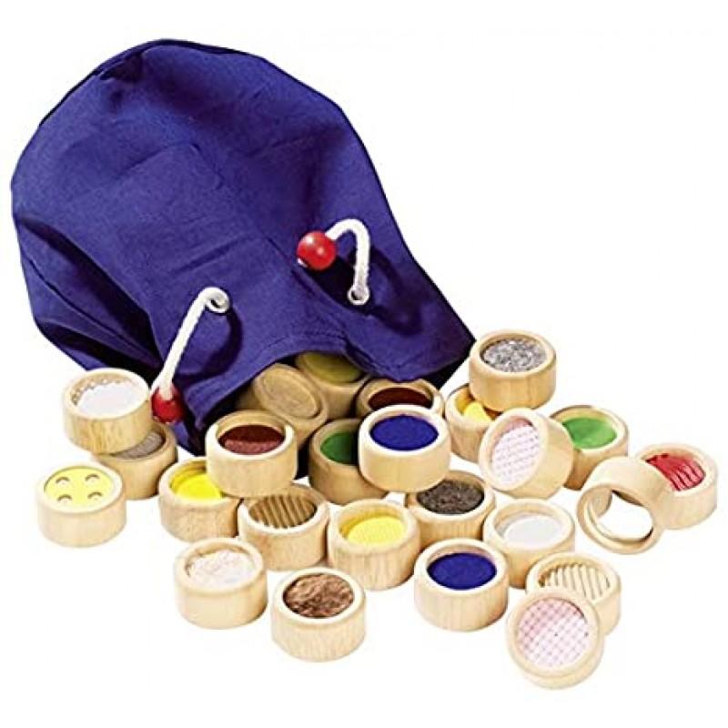 Joc senzorial de memorie Goki, 4 x 2 cm, 32 piese, lemn, saculet textil inclus, 3 ani+, Multicolor 2021 shopu.ro