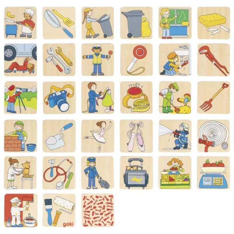 Joc de memorie/asociere Meseriile Goki, 32 piese, lemn, 3 ani+ 2021 shopu.ro