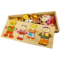 Joc de potrivire Familia ursuletilor, piese viu colorate, 33 x 14 x 4 cm