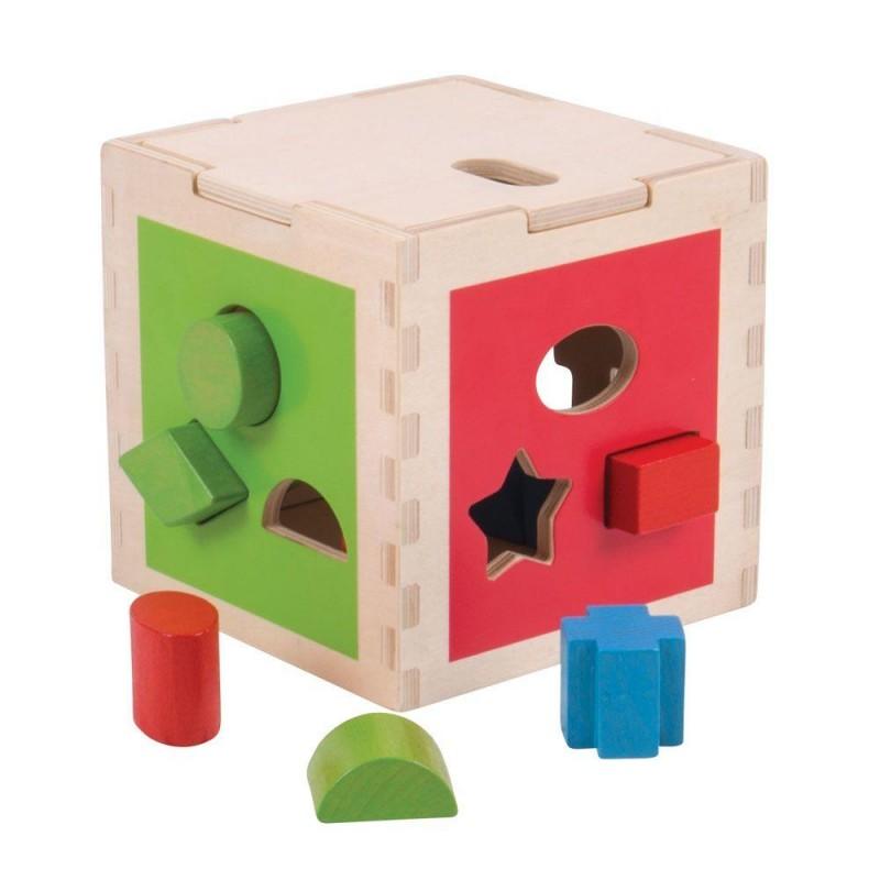 Joc de sortare BigJigs Primul meu cub, realizt din lemn, 3 laturi cu sortator