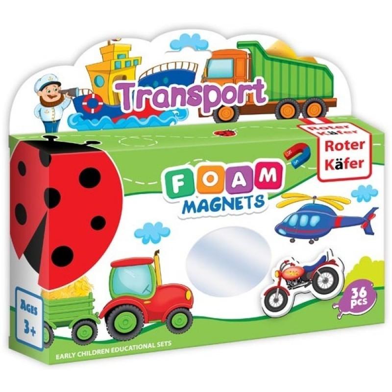 Joc educativ Lumea in Magneti Roter Kafer, 36 piese, 1 an+, Mijloace de Transport 2021 shopu.ro