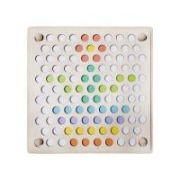 Joc educativ Mozaic cu bile Iso Trade, 22 x 22 x 5.5 cm, lemn, 3 ani+