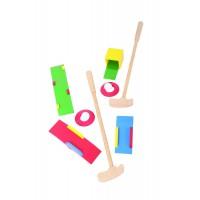 Joc golf din lemn, 2 crose,  o varietate de obstacole amuzante, 3 - 6 ani