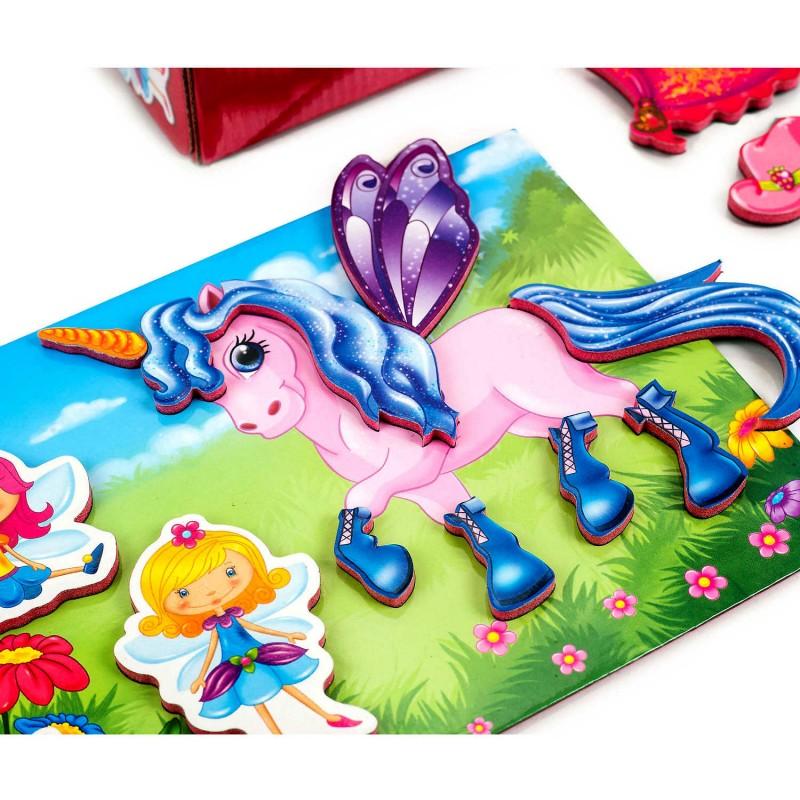 Joc Magnetic Zane si Unicorni Roter Kafer, 28 piese, 3 - 5 ani, Multicolor
