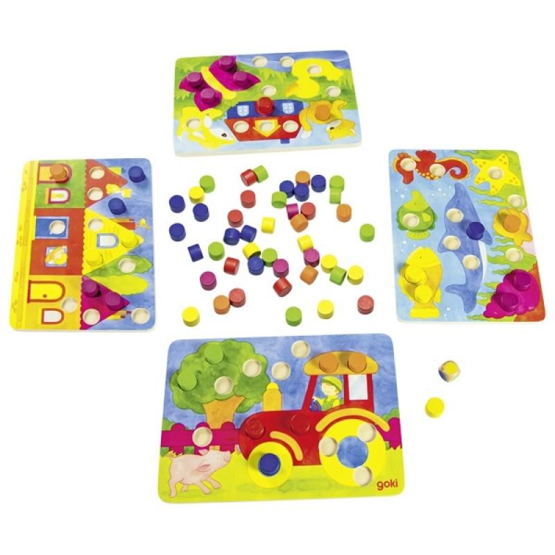 Joc educativ Potriveste culorile Goki, 95 piese, lemn, 2-4 jucatori, 3 ani+ 2021 shopu.ro