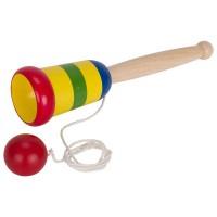 Joc educativ Prinde mingea cu pahar Goki, 19 cm, lemn, 3 ani+