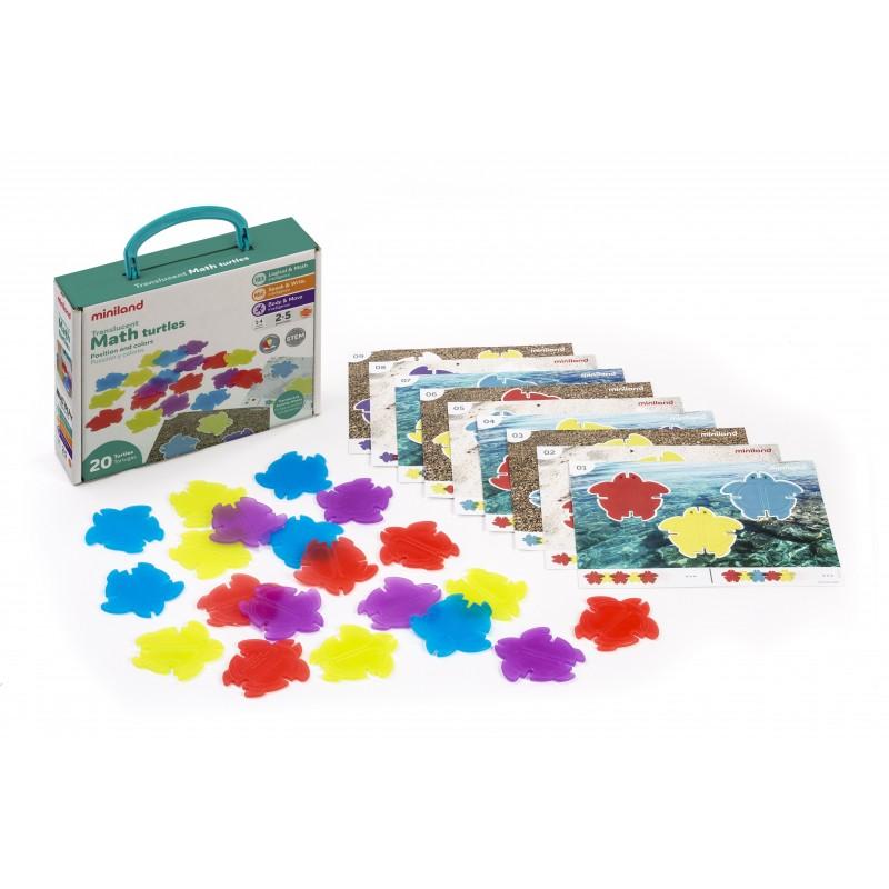 Joc Testoasele matematice translucide Miniland, 29 piese, 2-5 ani, Multicolor