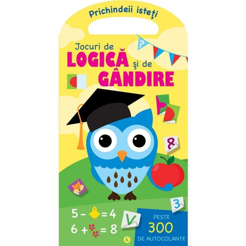 Carte de activitati Jocuri de logica si de gandire Editura Kreativ, 24 pagini, abtibilduri incluse, 3-10 ani 2021 shopu.ro