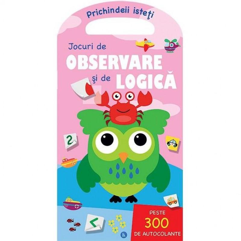 Carte de activitati Jocuri de observare/logica Editura Kreativ, 24 pagini, abtibilduri incluse, 3-10 ani 2021 shopu.ro