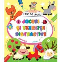 Carte pentru copii Jocuri si exercitii distractive 1 Editura Kreativ, 80 fise, 3-10 ani