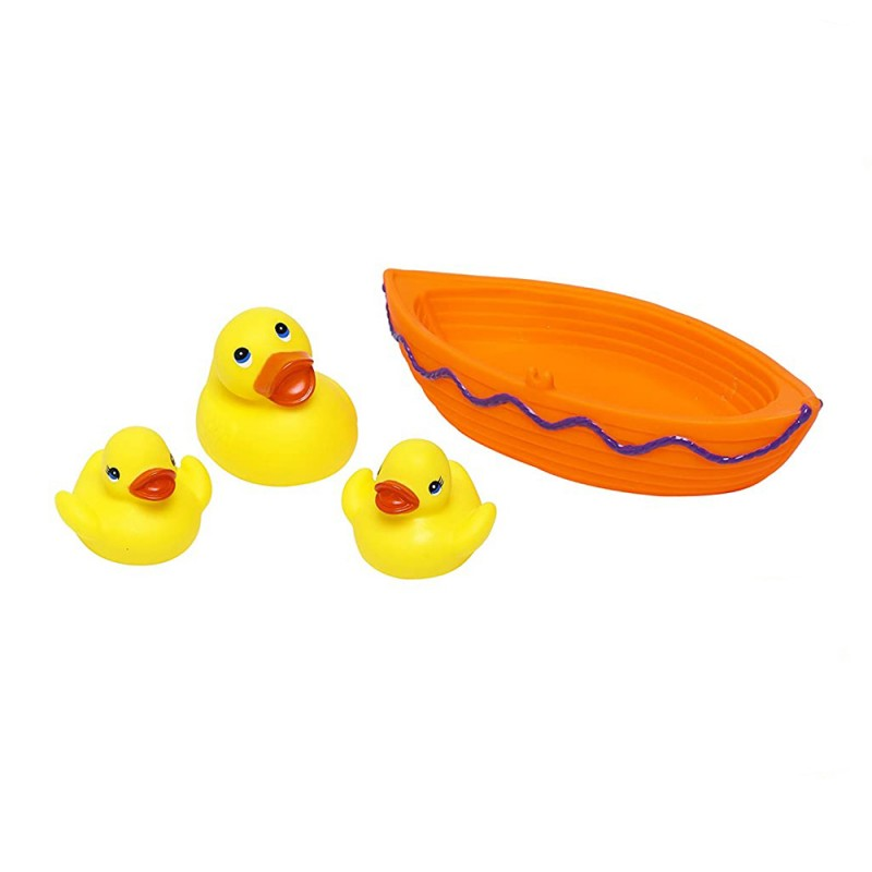 Jucarie de baie barcuta cu 3 ratuste Eddy Toys, 1 an+, Portocaliu 2021 shopu.ro
