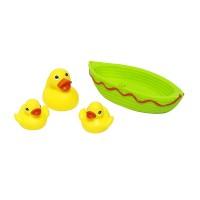 Jucarie de baie barcuta cu 3 ratuste Eddy Toys, 1 an+, Verde