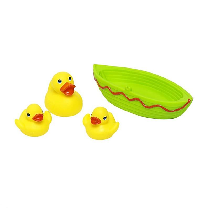 Jucarie de baie barcuta cu 3 ratuste Eddy Toys, 1 an+, Verde 2021 shopu.ro