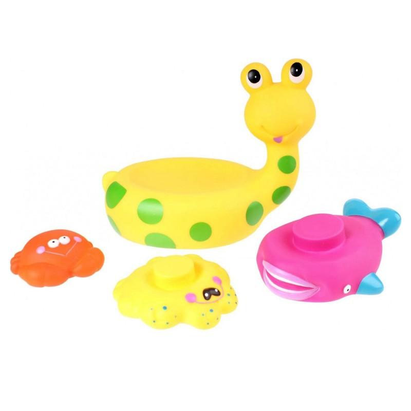 Jucarie de baie melc cu 3 animale marine Eddy Toys, 3 ani+, Galben 2021 shopu.ro