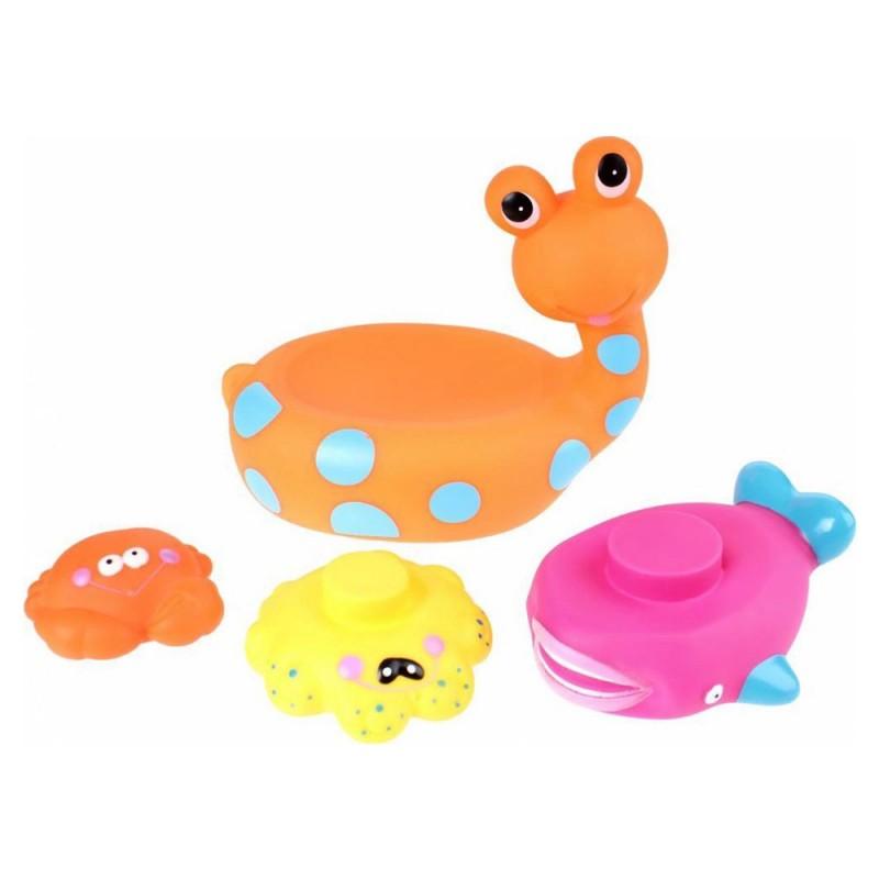 Jucarie de baie melc cu 3 animale marine Eddy Toys, 3 ani+, Portocaliu 2021 shopu.ro
