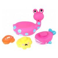 Jucarie de baie melc cu 3 animale marine Eddy Toys, 3 ani+, Roz