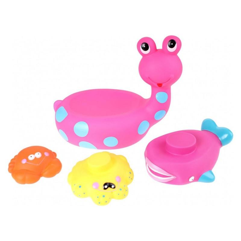 Jucarie de baie melc cu 3 animale marine Eddy Toys, 3 ani+, Roz 2021 shopu.ro