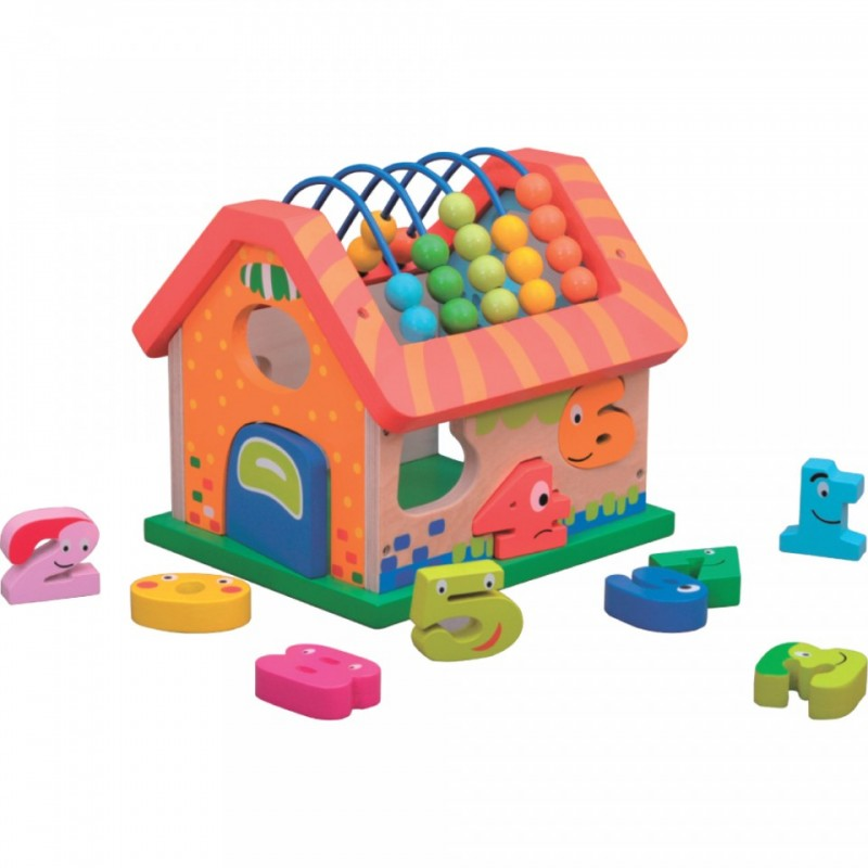Jucarie educativa Activity House Jumini, 20 x 17 x 19 cm, lemn, 1 an+, Multicolor 2021 shopu.ro
