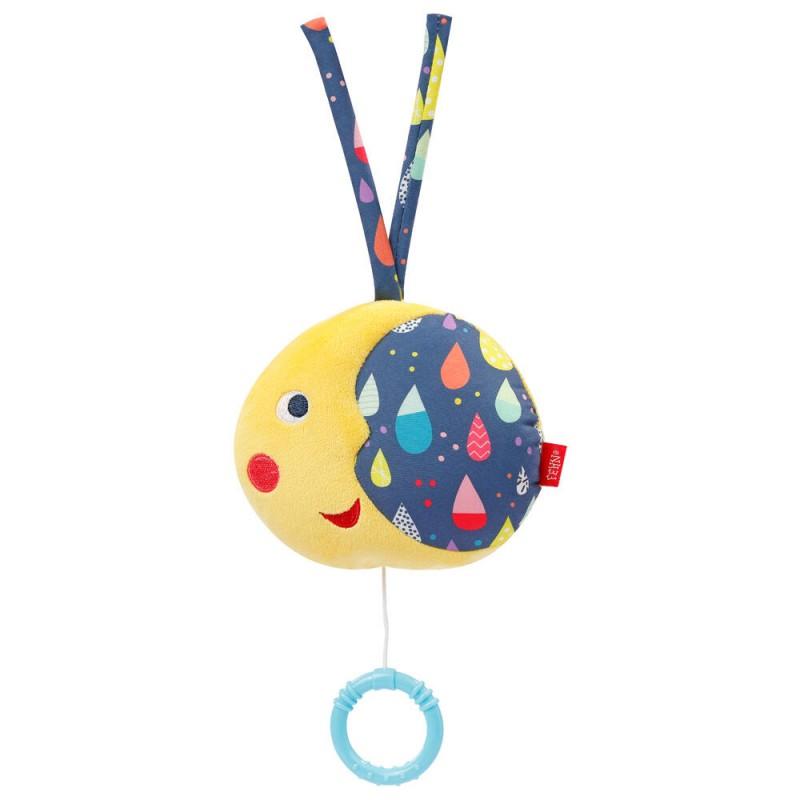 Jucarie muzicala Luna Fehn, velur, 13 cm, 0 luni+, Multicolor