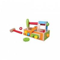 Set constructie utie cu unelte Jumini, 20 piese, 27 x 12 x 16 cm, lemn, 3 ani+, Multicolor