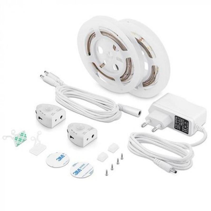 Set 2 benzi LED pentru pat, 260 lm, 4500 K, alb neutru, senzor de miscare inclus shopu.ro