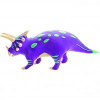 Set de constructie Triceratops Fiesta Crafts, 8.5 cm, lemn/argila, 5-9 ani