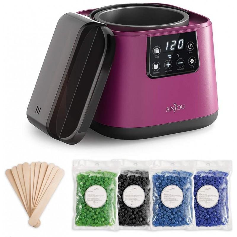 Kit epilare Incalzitor ceara profesional Anjou, display LCD, 100 W, 500 ml, control tactic, 4 pachete ceara, spatule incluse