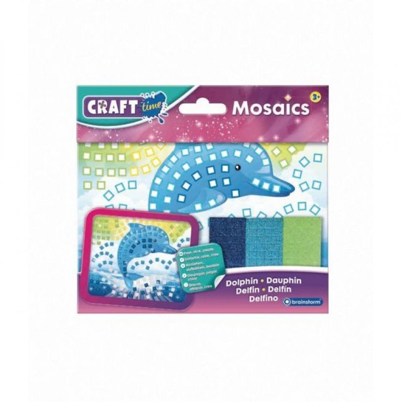 Kit Mozaic Mini Delfin Brainstorm Toys, 18 x 14 cm, 5 ani+, Multicolor 2021 shopu.ro