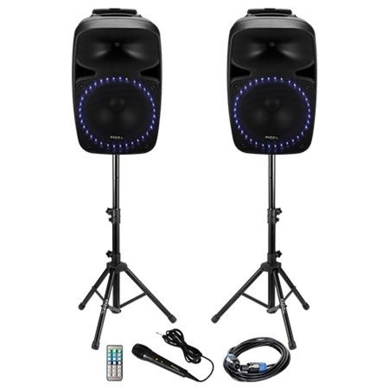 Kit sonorizare Bluetooth, 2 x 500 W, USB, cardSD, egalizator 2 benzi, tuner FM 2021 shopu.ro