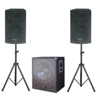 Kit subwoofer 18 inch, 2 sateliti 12 inch, 2 stand boxa, amplificator 2.1, 1200 W