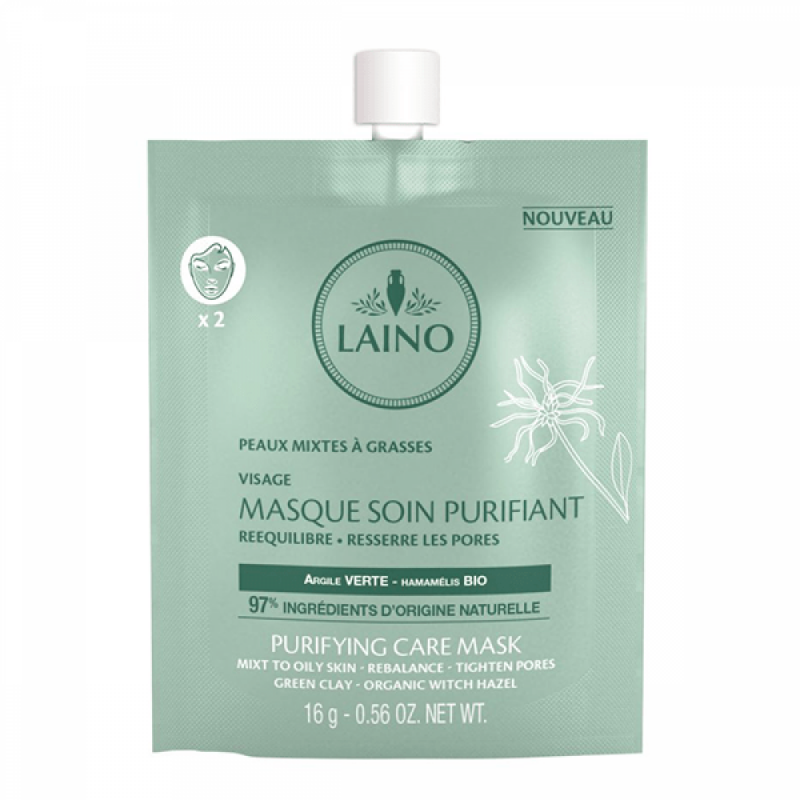 Masca faciala purifianta Laino, 16 ml, argila verde 2021 shopu.ro