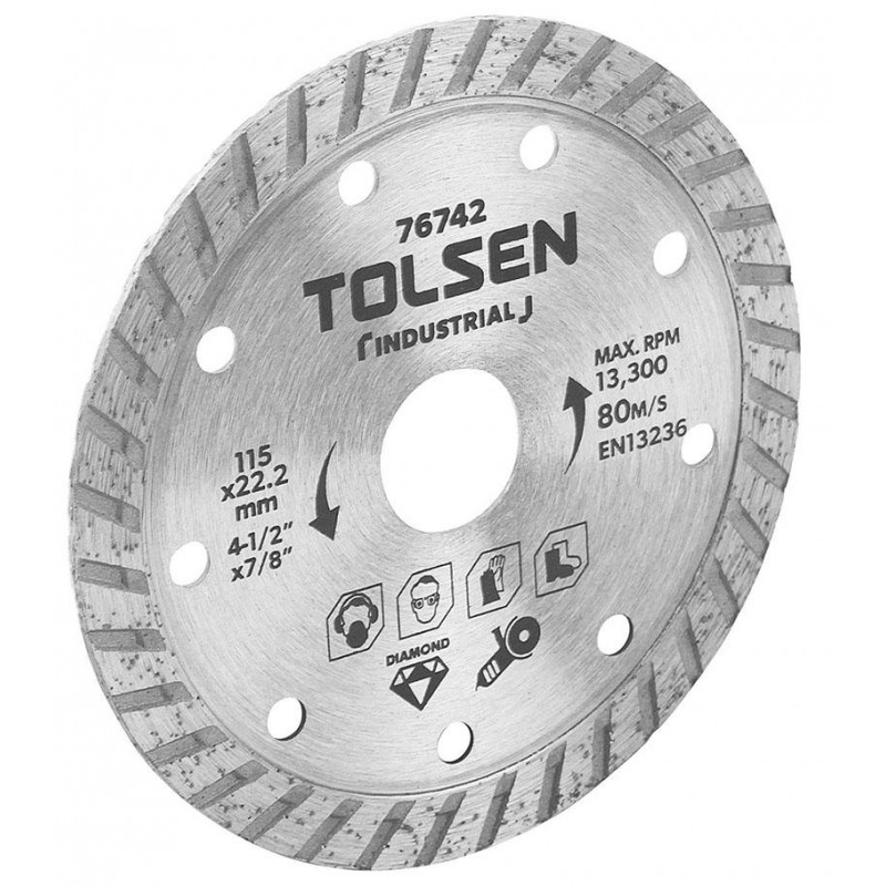 Lama de taiere diamantata Tolsen, 115 x 22.2 mm, max rpm 13300 intrerupt