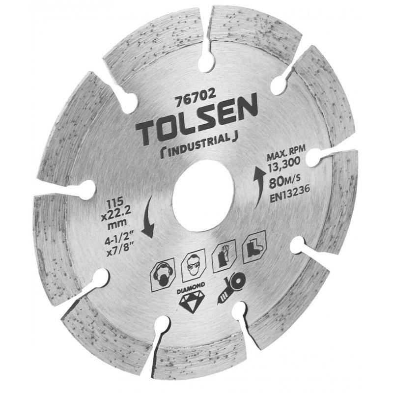 Disc diamantat Tolsen, 115 x 22.2 x 6 mm, uz industrial shopu.ro