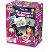 Lampa de Veghe si Proiector Imagini din Basm Brainstorm Toys, 24 imagini, Alb/Rosu